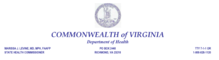 VA Dept of Health Letterhead